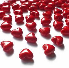 100 Acrylic Red Love Heart Beads Charm 11mm x 10mm, Christmas Craft Jewellery