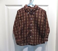 Greendog Boys long sleeve Top Size 3T red green plaid cotton blend