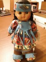 "GI-GO Toys Vinyl Cloth Native American Indian Doll 12"" Vintage"