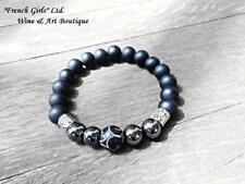 Black Onyx Matte Hematite Mens Beaded Gemstone Bracelet Mala Healing Stone