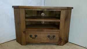 any size made- Real Solid Wood Corner tv Cabinet Stand Chunky Rustic Plank Pine