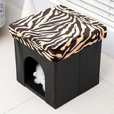 Homcom pvc pliable pet storage ottoman pliable chat chien maison kennel lit pied...