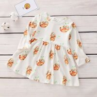 Toddler Infant Baby Girl Sloth Dress Long Sleeve Party Tutu Dresses Kids Clothes