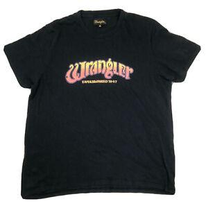 Wrangler Mens T-shirt Sz 2xl Black Vintage Style A4