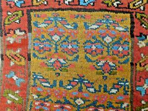 Antique Tribal Oriental Long Rug Northwest 1910 Runner Mustard Gold Field Kurd