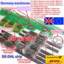 【EU】3set 20mm Square Linear Rail Guide+3 Ballscrew 1605-400/700/1000mm+HGH20+Nut