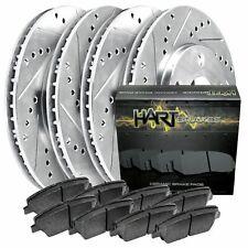 [FRONT+REAR KIT]Platinum Hart -*DRILL & SLOT* Brake Rotors  +CERAMIC Pads- 1696