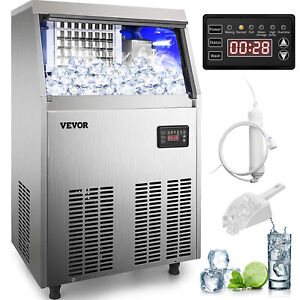 VEVOR Auto Built-In Commercial Ice Maker Stainless Steel Ice Cube Machine 110Lbs