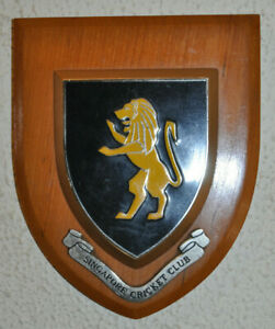 Vintage Singapore Cricket Club plaque shield crest