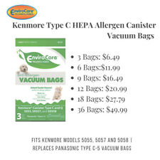 Kenmore Type C HEPA Allergen Canister Vacuum Bags 5055 and 50558 by EnviroCare