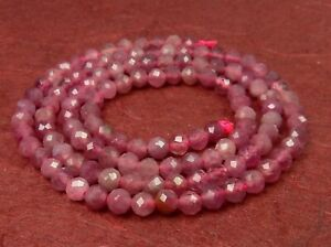 Pink Tourmaline Faceted Balls 0 1/8in Gemstone Beads Strand Seed Beads