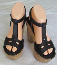 Schuh Ladies Black Leather Sandals Shoes UK Size 5 EU 38