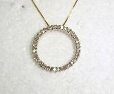 "ETERNITY CIRCLE PENDANT NECKLACE W/37 DIAMONDS IN 14K YELLOW GOLD 17.5""  N400-J"