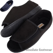 Mens / Gents EEE Wide Fitting Slippers / Boots with Ripper Fastening / Open Toe