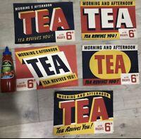 Original Paper Tea Signs Set Of 5