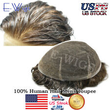 Full Swiss Lace Mens Toupee Gray Hair System All Thin French Lace Brown Blonde