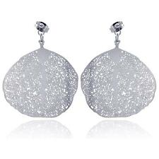Stainless Steel Flat Disc Leaf Design Hanging Stud Earrings w/ CZ stone
