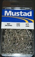 100 Mustad 34184DT-30 Size 3/0 Saltwater 60 Degree Jig Hooks Do It Salt Molds