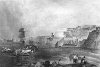Malta, BIRGU GRAND HARBOR & SHIPS FORT ST. ANGELO ~ Old 1832 Art Print Engraving