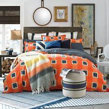 3pc! Tommy Hilfiger St Andrews Orange Blue Queen Duvet / Comforter Cover Set NEW