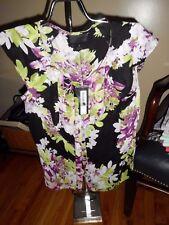 Women's Worthington Black W/Floral Design Cap Sleeve Button Shirt Size S NWT