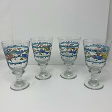 Vintage 4 Sango Sue Zipkin Glass Wine Goblets Birds and The Bees