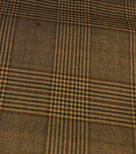 "Vintage Wool Fabric Glen Plaid 1 Yard 60"" Wide ( Feels Like Linen)"