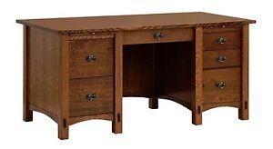 """Amish Mission Craftsman Computer File Desk Springhill 64"""" Solid Wood"""