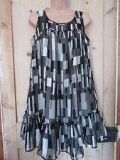 OASIS BLACK CREAM GREY SILK LINED PARTY DRESS SILVER METALLIC THREAD SIZE UK 10