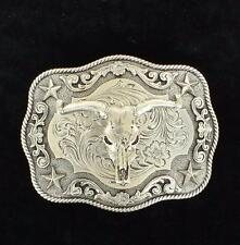 Nocona Western Mens Belt Buckle Rectangle Roped Edge Steer Skull Silver 3798664