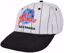 VTG 90s PLANET HOLLYWOOD Mall Of America SNAPBACK CAP Pinstripe HAT Made In USA!