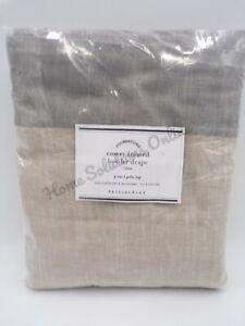 "Pottery Barn Emery Framed Border Cotton Lined Drape Oatmeal Gray 50x 84"" #H110"