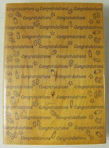 Baby Congratulations Hampton Art Background Rubber Stamp Wood Mounted 1998