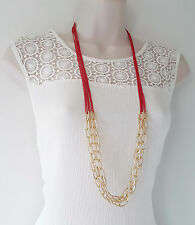 "Gorgeous 36"" long chunky link gold tone & RED layered long chain necklace,"