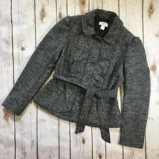 Ann Taylor LOFT Womens 2P Petite Gray Black Belted Jacket Coat Ruffle Front
