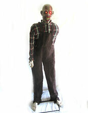 "Standing Animated Zombie Farmer Walking Dead Haunted House Halloween Prop 60"""