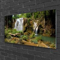 Tulup Acrylglasbilder Wandbild Dekobild 100x50 Wasserfall Wald Natur