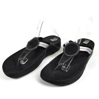 Fitflop WALKSTAR Womens Size US 9 Toe Post Black Logo Flip Flops Thongs Sandals