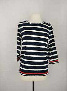 Gerry Weber Women's Black White Stripe Knit Top 3/4 Sleeve Soft Size 12 Large