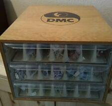 2 Loaded DMC 3 DRAWER ThreadworX Embroidery Floss & Wood Storage CABINET