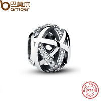 Authentic S925 Sterling Silver Charms Hollow Round Beads Fit P European Bracelet
