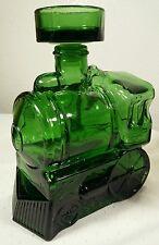 Train Steam Engine Green Glass Liquor Decanter BREVETTATO Italy W/Stopper
