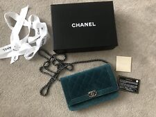 100% AUTHENTIC CHANEL WALLET ON A CHAIN VELVET BAG