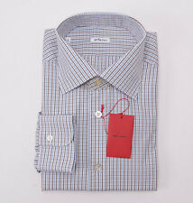 NWT $750 KITON Cocoa Brown-Blue Check Cotton Dress Shirt Slim-Fit 17 x 37 + Box