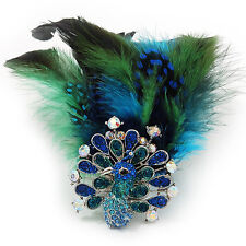 Oversized Green/Teal/Blue Feather 'Peacock' Stretch Ring In Silver Plating - Adj