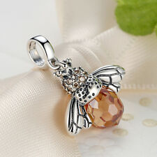 Sterling Silver Honey Bee Yellow Crystal European Bead Charm for Charm Bracelet