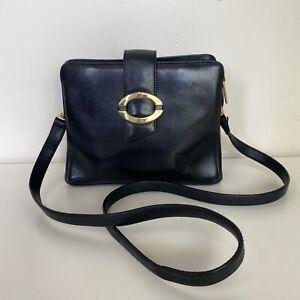 Vicosta Ladies Black Gold Vintage Leather Cross Body Messenger Style Handbag