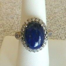 LAPIS RING W/ TANZANITE WHITE TOPAZ ACCENTS Platinum Over Sterling Silver Size 8