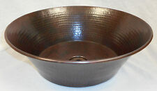 "15"" Round Hammered Copper CAZO Vessel Vanity Sink"