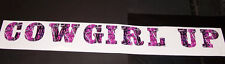 DARK Pink Girl Camo COWGIRL UP Windshield Decal Sticker Country Horse Muddy 4x4